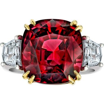 18.37ct Cushion Cut Red Spinel and 1.35ctw Diamond  Ring, Platinum