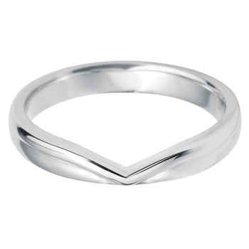 Ladies V Shape 18ct White Gold Wedding Band in 3 Sizes