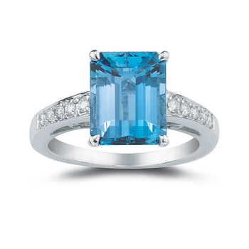 6.30ct Blue Topaz and 0.15ctw Diamond Ring, 18ct White Gold