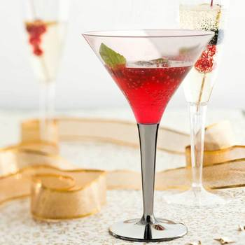 Mozaik 48 Disposable Martini / Cocktail Glasses with Silver Stem