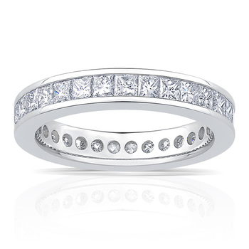 2.00ctw Princess Cut Channel Set Diamond Eternity Ring, Platinum in 6 Sizes