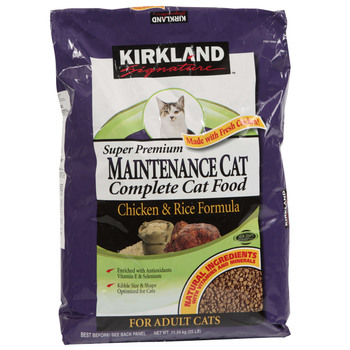 Kirkland Signature Super Premium Adult Complete Cat Food, Chicken & Rice Formula, 11.34kg