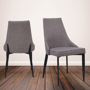 Parq Quilted Back Grey Fabric Dining Chairs, 2 Pack