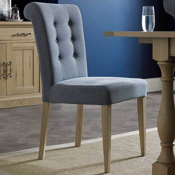 Bentley Designs Chartreuse Slate Blue Fabric Upholstered Dining Chair, 2 Pack