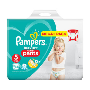 Pampers Baby-Dry Nappy Pants Size 5, 84 Mega+ Pack