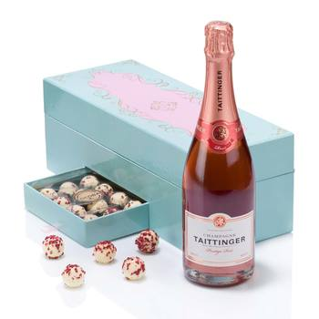 Taittinger Prestige Rosé Champagne and Cocoba Raspberry Champagne Truffles Gift Box
