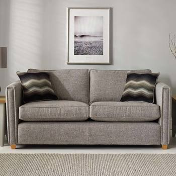 Ohio 4 Seater Grey Fabric Sofa with 2 Accent Pillows, Grey