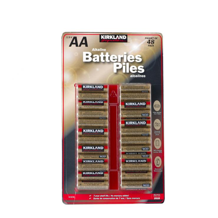 30e81e474fd Kirkland Signature Alkaline AA Batteries - 48 Pack