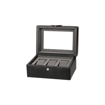 Dulwich Designs Connoisseur Collection Genuine Leather 3 Piece Watch Box, Black
