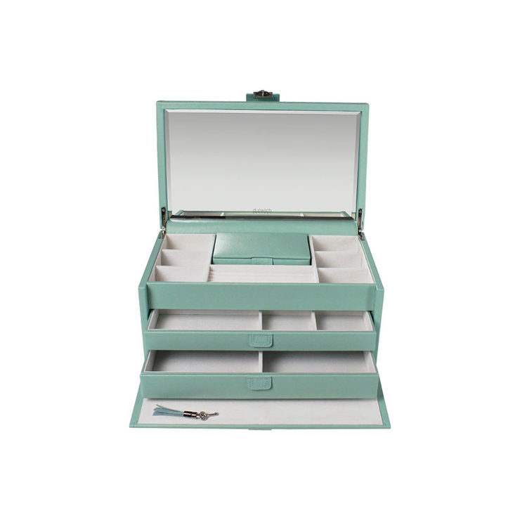 Dulwich Designs Mayfair Two Drawer Leather Jewellery Box, Duck Egg ...