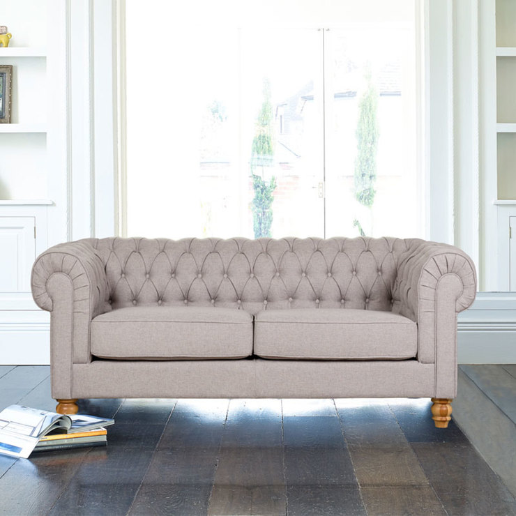Chesterfield 2 Seater Fabric Sofa, Dove Grey