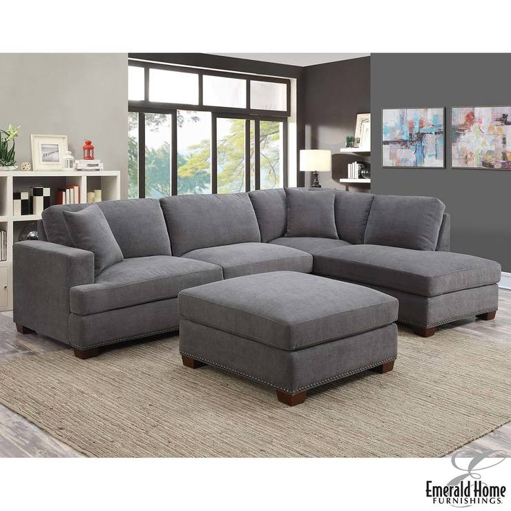 Kellen 3 Piece Grey Fabric Sectional Sofa With Ottoman And