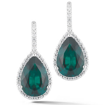 5.00ctw Pear Cut Lab Emerald and 0.40ctw Round Brilliant Cut Diamond Earrings, 18ct White Gold