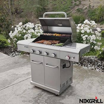 Nexgrill Deluxe 4 Burner Stainless Steel Gas BBQ Grill + Side Burner + Cover