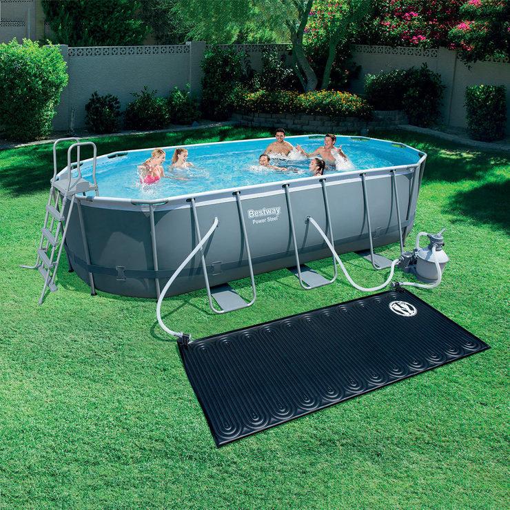 Bestway 18 x 9 ft Steel Oval Frame Pool + Sand Filter Pump + Solar ...