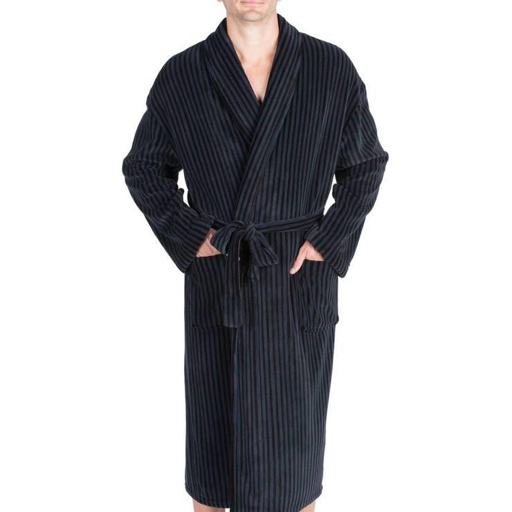 bad1f2ca7f Majestic Men s Plush Fleece Robe in Navy Stripe