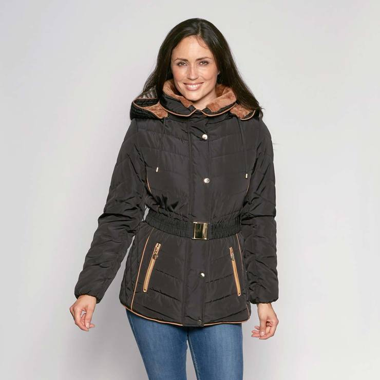 1d6d652ff058b David Barry Women s Elegant Belted and Hooded Padded Jacket in Black ...