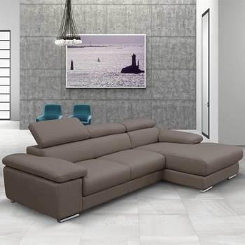 Nicoletti Lipari Taupe Italian Leather Sofa Chaise