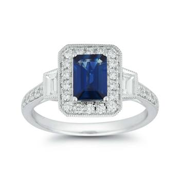 1.10ct Emerald Cut Blue Sapphire and 0.58ctw Diamond Ring, 18ct White Gold