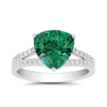 3.97ct Blue Green Tourmaline with 0.26ctw Diamond Ring, 18ct White Gold