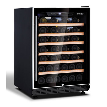 Husky 52 Bottle Signature Single Zone Wine Cooler in Black with an Aluminium Trim Door, HUS-ZY5-S-NS-52