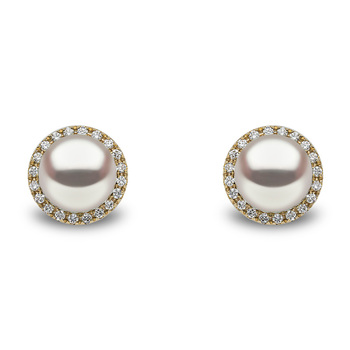 10-11mm White Cultured Freshwater Pearl and 0.45ctw Diamond Earrings, 18ct Yellow Gold