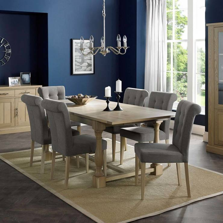 Bentley Designs Chartreuse Aged Oak Extending Dining Room Table 6 Smoke Grey Fabric Chairs