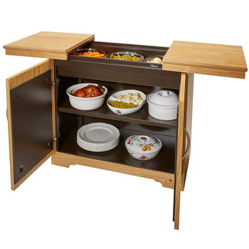 Hostess Heated Trolley with Natural Oak Veneer Finish, HL6244NO