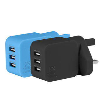 Juice Triple USB Charging Plug in 2 Colours