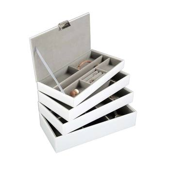 Stackers White Glass Set of 4 Jewellery Box