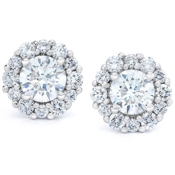 1.00ctw Round Brilliant Cut Diamond Halo Stud Earrings, 18ct White Gold