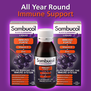 Sambucol Immuno Forte Black Elderberry Liquid, 2 x 120ml (3+ Years)