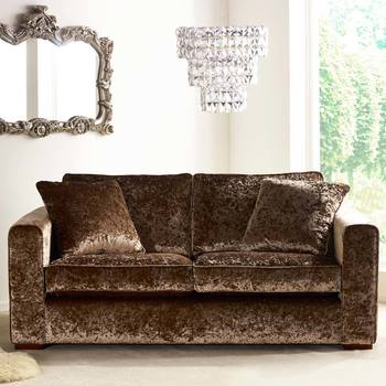 Parq 2 Seater Sofa with 2 Accent Pillows in Truffle Crushed Velvet