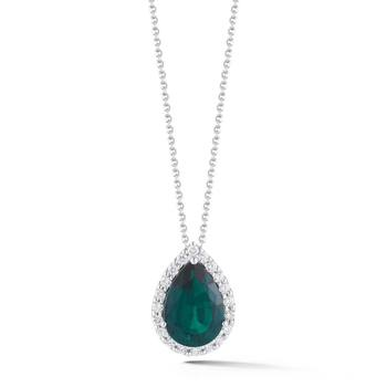 3.35ct Pear Cut Lab Emerald and 0.36ctw Diamond Pendant, 18ct White Gold