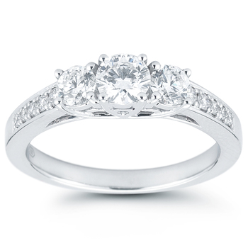 1.00ctw Round Brilliant Cut Diamond Ring, 18ct White Gold