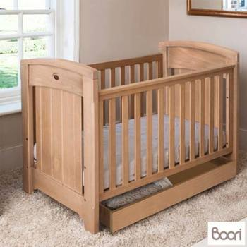 Boori Classic Royale Cot Bed in Almond + Deluxe Mattress + Tidy Drawer