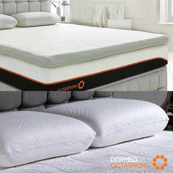 Dormeo Octaspring Body Zone Mattress Topper and True Evolution Pillow Bundle in 4 Sizes
