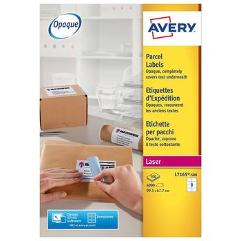 Avery Laser Parcel Labels 67.7 x 99.1mm,  L7165-500, Pack of 4000