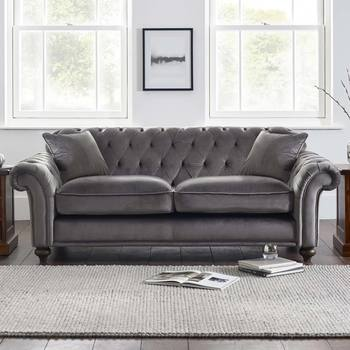 Bordeaux Button Back 2 Seater Grey Velvet Sofa with 2 Accent Pillows