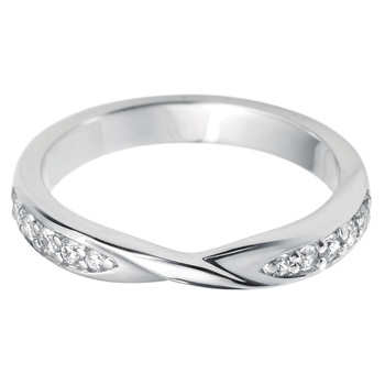 Ladies 0.17ctw Diamond Twist Wedding Ring, 18ct White Gold in 2 Sizes