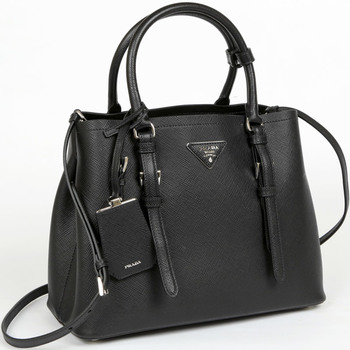 Prada Saffiano Cuir Leather Handbag, Black