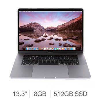 Apple MacBook Pro Retina with Touch Bar, Intel Core i5, 8GB RAM, 512GB Solid State Drive, 13.3 Inch Notebook in 2 Colours