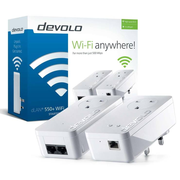 devolo 9839 dlan powerline 550 wifi starter kit costco uk. Black Bedroom Furniture Sets. Home Design Ideas
