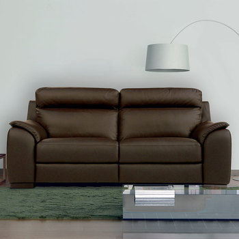Calia Italia Brown Italian Leather Serena 3 Seater Power Recliner Sofa