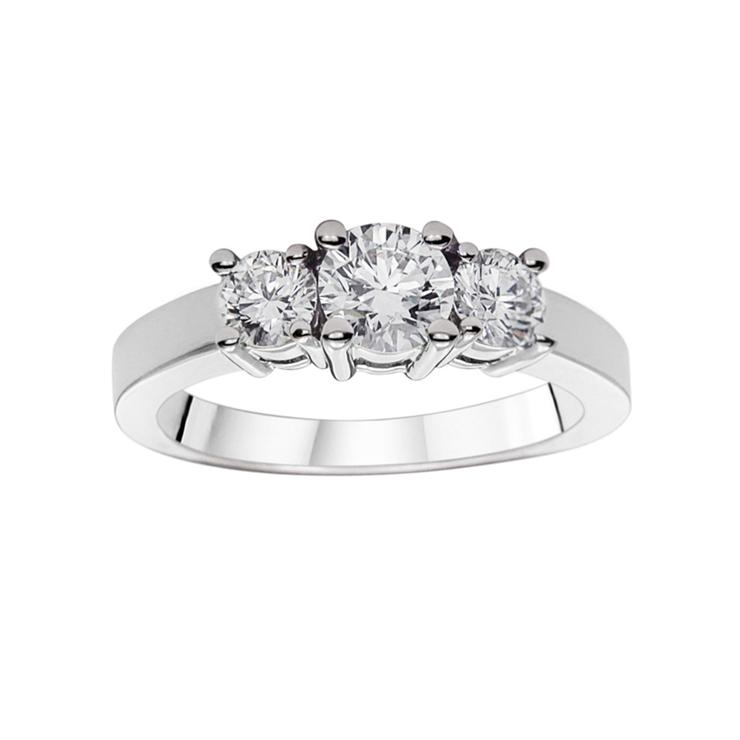016927285e9dc 1.00ctw Round Brilliant Cut Diamond 3 Stone Ring
