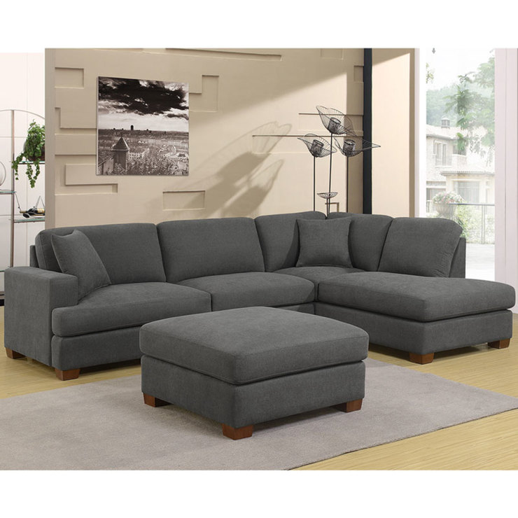 Erin 3 piece grey fabric sectional sofa with 2 accent for 3 piece sectional sofa costco
