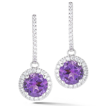 2.45ctw Amethyst and 0.40ctw Round Brilliant Cut Diamond Earrings, 18ct White Gold