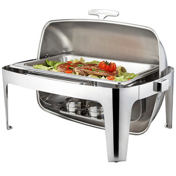 Sunnex 8.5 Litre Rectangular Rolltop Chafing Dish, Stainless Steel