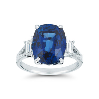 9.36ctw Cushion Cut Blue Sapphire and 0.80ctw Diamond Ring, 18ct White Gold