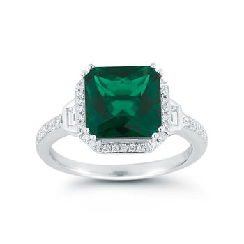 3.00ct Square Cut Lab Emerald and 0.34ctw Round Brilliant Cut Diamond Ring, 18ct White Gold